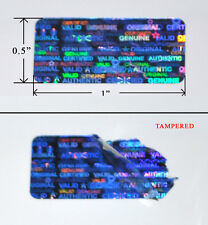"2,000 BLUE HOLOGRAPHIC SECURITY LABELS SEAL TAMPER EVIDENT SVAG LARGE: 1"" X 0.5"""