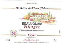 Etiquette de vin - BEAUJOLAIS Village - Domaine du Vieux Chêne - 1998