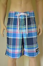 "Abercrombie & Fitch Goodnow montaña Swim Shorts Plaid azul XS 28"" RRP £ 64"