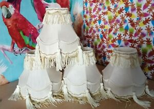 4 Vintage Small Lampshades Tassels Clip Ons Retro Vintage Collectables Cream