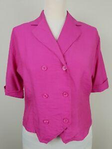 Ladies 90s Vintage S-Sleeve Pink Collared Crop Fit Blouse/Jacket *14* MH27
