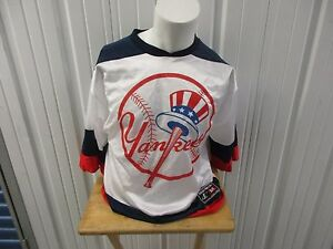 VINTAGE LOGO ATHLETIC NEW YORK YANKEES WHITE/NAVE MEDIUM JERSEY 90s PRE-OWNED