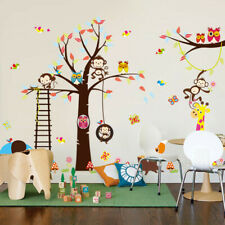 Large Tree Animals Wall Sticker Removable Word Monkey Owl Kids Room Decor Decal
