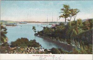 UDB postcard c1907, Saco River from Bridge, Saco, Maine