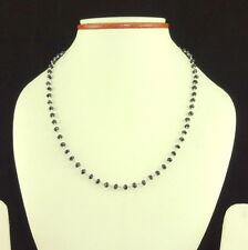 NECKLACE NATURAL FACETED BLACK SPINEL BEADED GEMSTONE 7 GRAM 925 STERLING SILVER