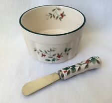 PFALTZGRAFF WINTERBERRY DIP BOWL + Spreader knife, cheese dips spreads appetizer