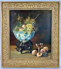 Antique 19th C. European Still Life Fruits & Porcelain, Oil Painting on Canvas