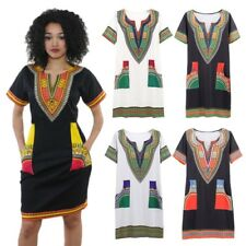Women African Ethnic Short Sleeve Bodycon Dress Summer Beach Sundress Dashiki UK
