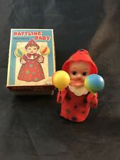 Vintage Wind-Up Mechanical Baby Doll Toy Original Box Dress and Rattle