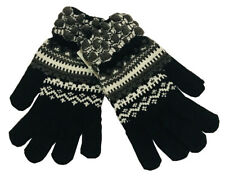 Warm Winter Gloves Knitted Womens Mens Christmas Snowflake Gloves Black