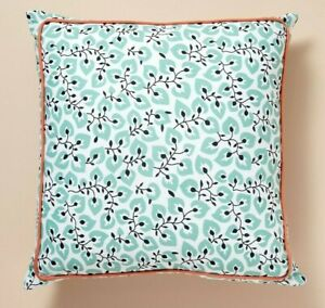 Anthropologie Campagne Pillow Accent Throw Aqua Blue Floral Reverse Blue Dot New