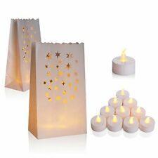 AceList 50 Set Luminaries Bag Candles Bags Flameless Tea Light for Wedding Party