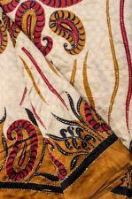 Vintage Indian Pure Silk Kantha Saree Fabric Hand Embroidered Sari Sarong Drape