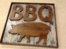 Wooden 3D BBQ Sign with Pig Hog - Barbeque