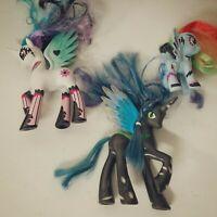 My Little Pony 2011 G4 Lot of 3 Black Chrysalis Celestia White Rainbow Lightning