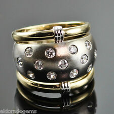 DOME WEDDING BAND 1.00 CT. VS1-F DIAMOND RING 14K WHITE & YELLOW GOLD size 5.5