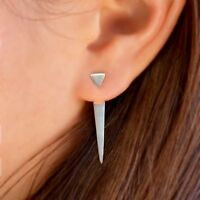 Sterling Silver .925 Modern Simple Minimalist Triangle Ear Jacket Earrings