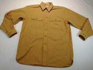 LL Bean Chamois Cloth Flannel Shirt Traditional Fit Mens Medium Mustard Yellow