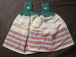 LOT OF 2 PIONEER WOMAN CLASSIC CHARM CROCHET TOP KITCHEN BATH HAND TOWELS