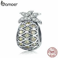 BAMOER Nice 100%  Sterling Silver Charm Summer pineapplef With CZ For Bracelet