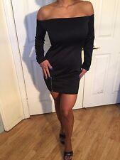 Connie's Off shoulder Stretch fabric Black Cocktail Mini Dress with Zipper L/XL