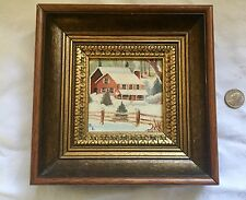 """Miniature Oil Painting Farmhouse In The Woods Carved Oak Frame 8""""x 8"""" Signed"""