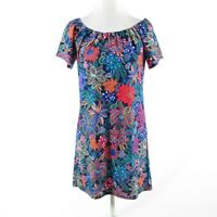 Navy blue multicolor floral print JUDE CONNALLY short sleeve shift dress XS