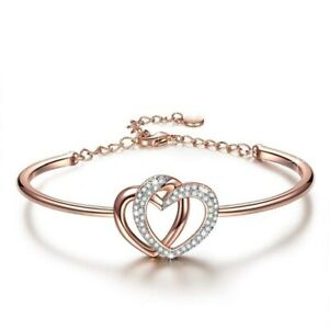 Guardian Of Love Heart Bracelet For Women Rose Gold With Crystals Wedding Gift