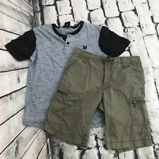 One Piece Animation Luffy Boy Outfit T-Shirt+Shorts #092 Lime Size 4-10 age 3-10