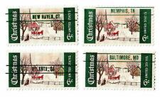 Set of all 4 US Scott 1969 #1384 1384a Experimental Precancel Christmas MNH