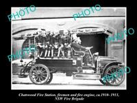 OLD LARGE HISTORIC PHOTO OF CHATSWOOD NSW FIRE BRIGADE STATION & FIREMEN c1910