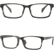 Rechteckig Herren Damen Brillen Zierlich Kunststoff Holz Gestell Fassung Grau