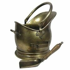 Inglenook Premium Coal Bucket Antique Brass Finish With Wooden Handle Shovel