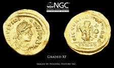 BYZANTINE. Justinian I, AD 527-565, Gold Tremissis, NGC XF