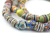 Oval Antique Venetian African Millefiori Trade Beads 11mm Ghana Multicolor Glass