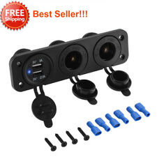 12V Car Boat Truck Cigarette Lighter Socket +Dual USB Port Charger Mount Panel