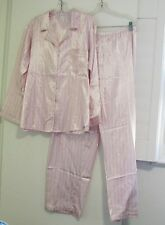 Miss Elaine Brushed Back Satin Pajama Set Pink Stripe 426225RS Sz XL - NWT