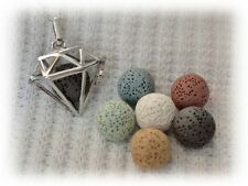 Diamond Shaped Essential Oil Aromatherapy Diffuser Necklace with 6 lava stones!