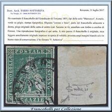 ASI 1851 Toscana 4 cr. verde su grigio n. 6 Usato Certificato Antichi Stati
