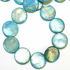 MP410e Blue w Gold Drawbench Drizzle 20mm Round Mother of Pearl Shell Bead 15""