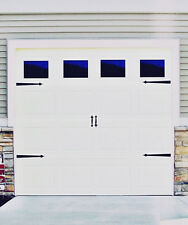 Garage Door Vinyl Decals: Clear Style Faux Windows with Hardware Decals #E