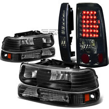 FOR 99-02 SILVERADO BLACK HEADLIGHT+BUMPER+CHROME SMOKED LED TAIL LIGHT/LAMP KIT