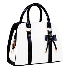 Hot Womens Vintage Hobo Messenger Handbag Shoulder Bag Tote with Bow-White O1O4