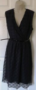 NEW Womens🦋DOROTHY PERKINS🦋navy stretch belted lined plissed lace dress size18