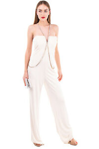 RRP €435 ELISABETTA FRANCHI Jumpsuit Size 42 / M Rhinestones Made in Italy