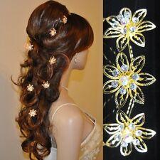 10 Haarnadeln gold -farbig Blume Blüte Hochzeit Straß Tiara Diadem Haarschmuck