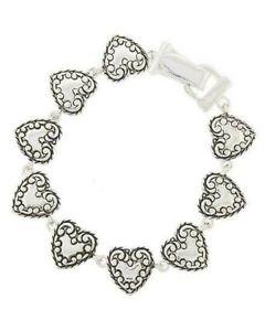 "BOHO Chic Silver Textured Scroll Heart Love Valentine Charm Bracelet 7.5"""