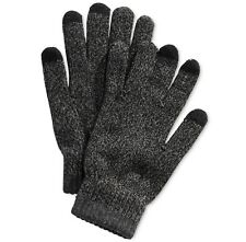 $78 Alfani Men Knit Gloves Black Gray Touch Screen Athletic Warm Winter One Size