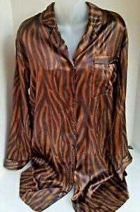 CABERNET Button Down 3/4 Sleeve Satin Sleepwear Night Shirt MEDIUM