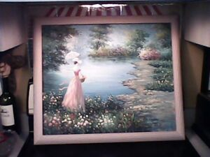 Beautiful Parasol Lady Classic Impressionist Oil painting in Pastels Signed
